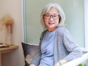 Example of an older asian woman at risk for osteoporosis