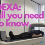 Photo of a person in a DEXA scan machine