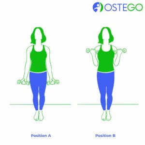 Demonstration of an arm curl for osteoporosis prevention