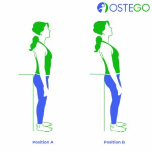 Drawing of a woman demonstrating a back flex exercise for osteoporosis prevention.