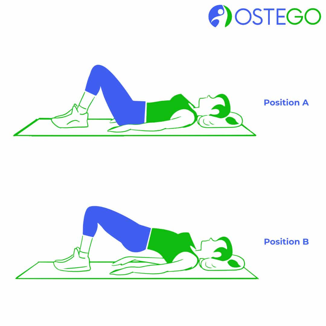 Drawing of a woman demonstrating a hip bridge exercise for osteoporosis prevention.