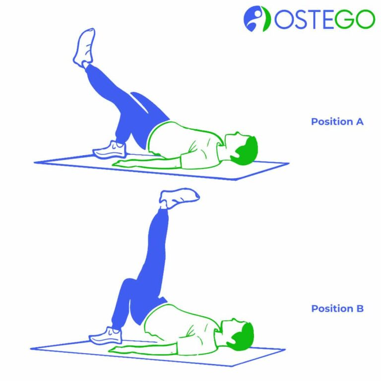 Drawing of a man demonstrating a hip bridge exercise with a leg lift for osteoporosis prevention.