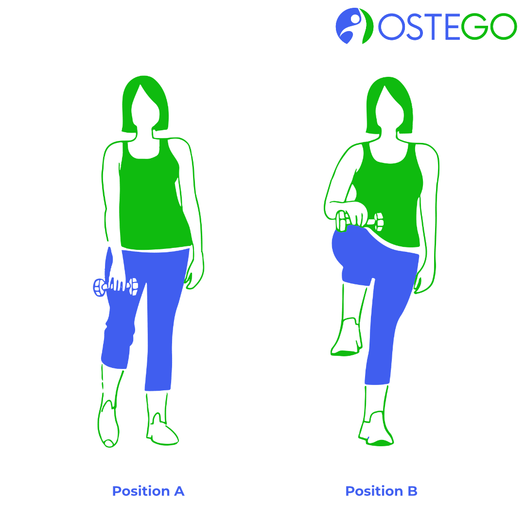 Drawing of a woman demonstrating a front knee raise exercise for osteoporosis prevention.