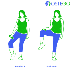 Drawing of a woman demonstrating a side knee raise exercise for osteoporosis prevention.