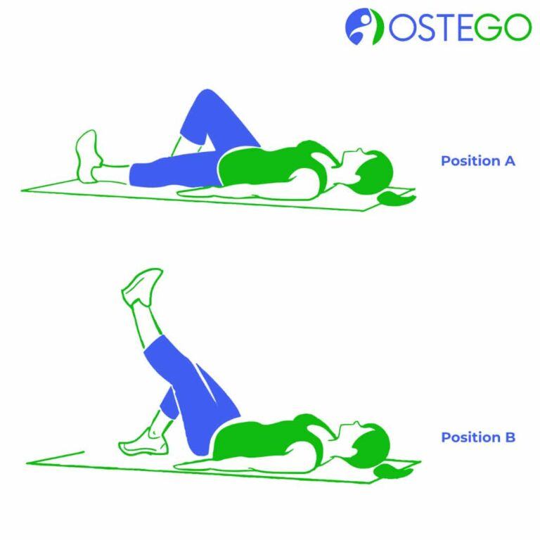 Drawing of a woman demonstrating a lying bent knee raise exercise for osteoporosis prevention.