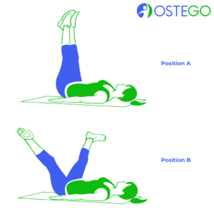 Drawing of a woman demonstrating a lying down hip V exercise for osteoporosis prevention.