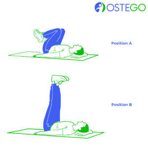 Drawing of a man demonstrating a lying legs up exercise for osteoporosis prevention.