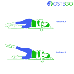 Drawing of a woman demonstrating a lying side leg raise exercise for osteoporosis prevention.