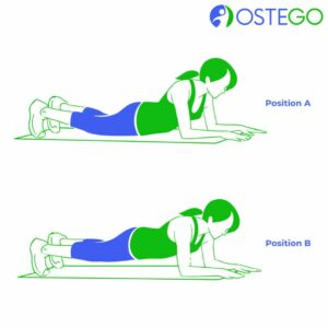 Drawing of a woman demonstrating plank position for osteoporosis prevention.