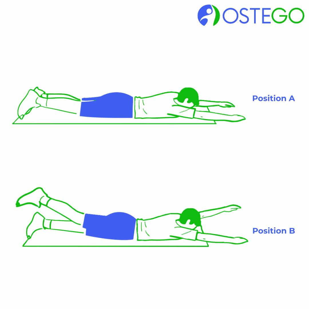 Drawing of a man demonstrating a prone alternating arm and leg raise exercise for osteoporosis prevention.