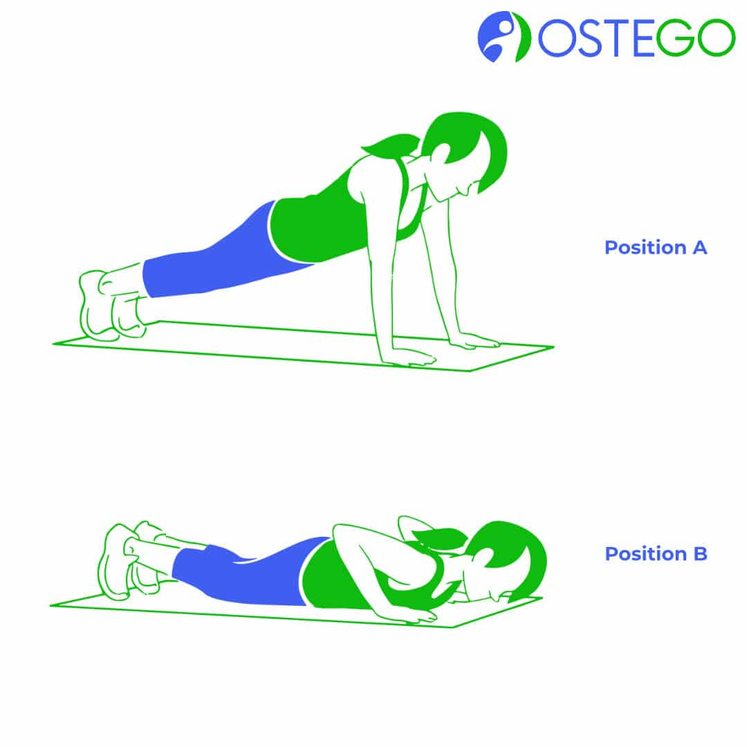 Drawing of a woman demonstrating a push up for osteoporosis prevention.