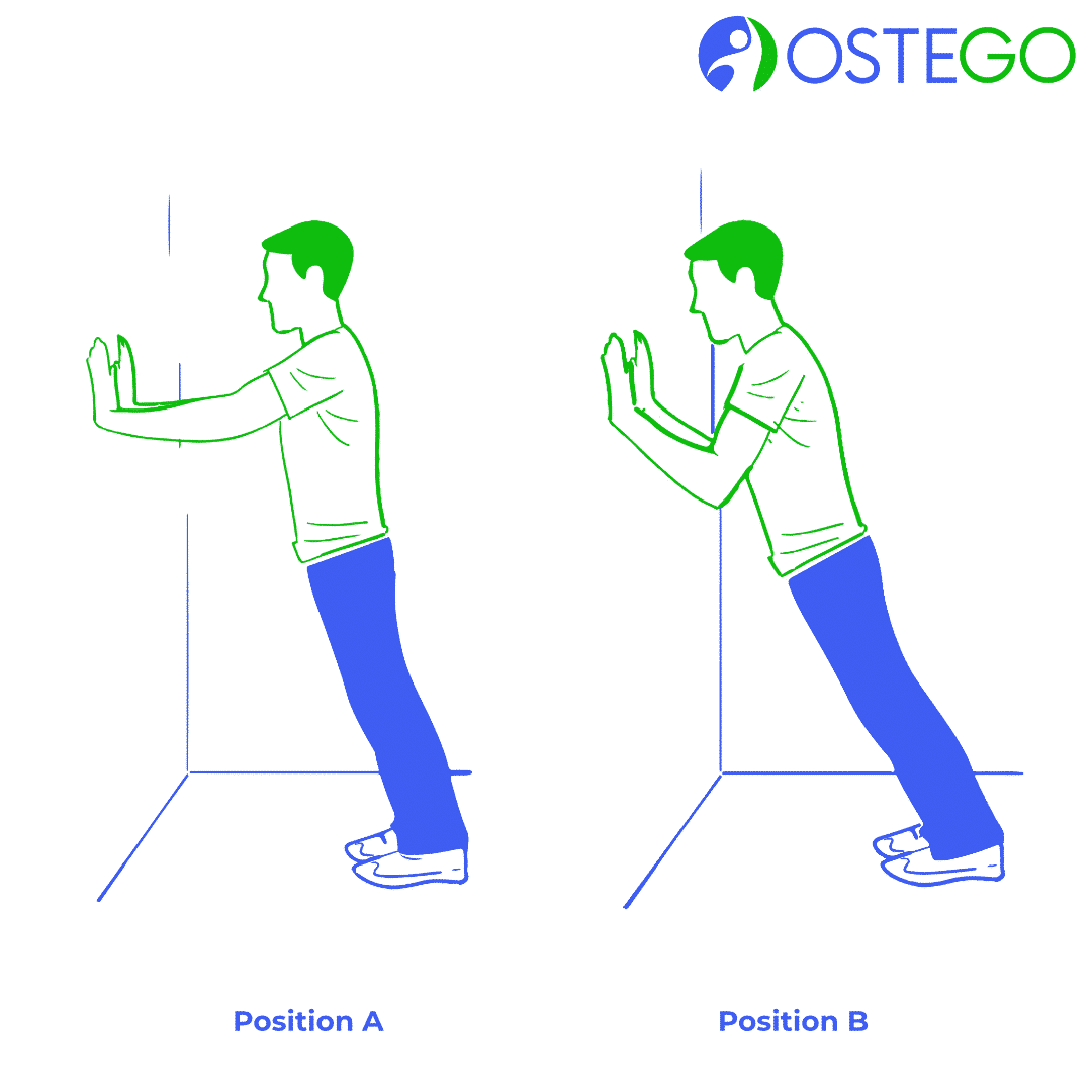Drawing of a woman demonstrating a wall push up exercise for osteoporosis prevention.