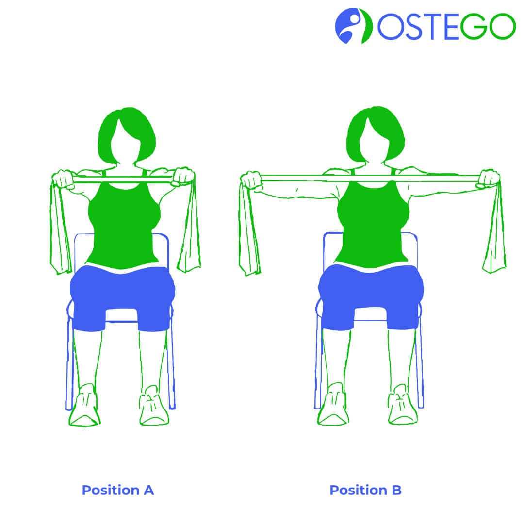 Drawing of a woman demonstrating a shoulder squeeze exercise for osteoporosis prevention.