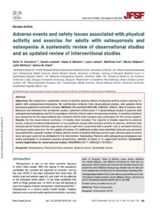 Adverse Events And Safety Issues Associated With Physical Activity And Exercise For Adults With Osteoporosis And Osteopenia