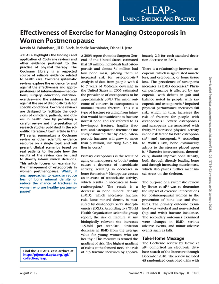 Effectiveness Of Exercise For Managing Osteoporosis In Women Postmenopause