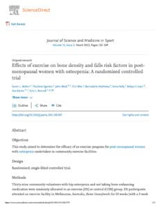Effects Of Exercise On Bone Density And Falls Risk Factors In Post-Menopausal Women With Osteopenia- A Randomised Controlled Trial