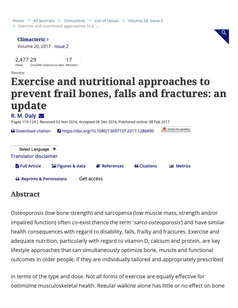 Exercise And Nutritional Approaches To Prevent Frail Bones Falls And Fractures