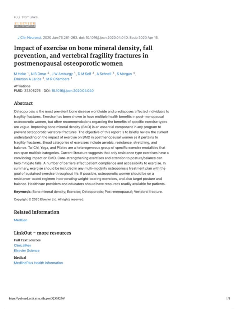 Impact Of Exercise On Bone Mineral Density, Fall Prevention, And Vertebral Fragility Fractures In Postmenopausal Osteoporotic Women