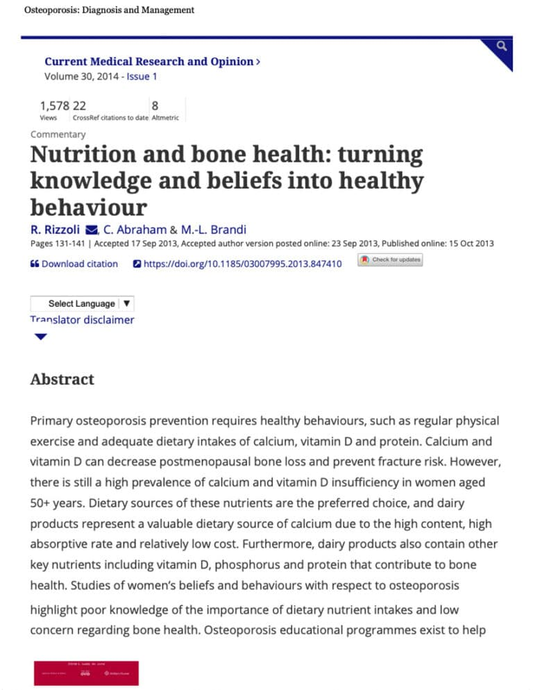 Nutrition And Bone Health- Turning Knowledge And Beliefs Into Healthy Behaviou