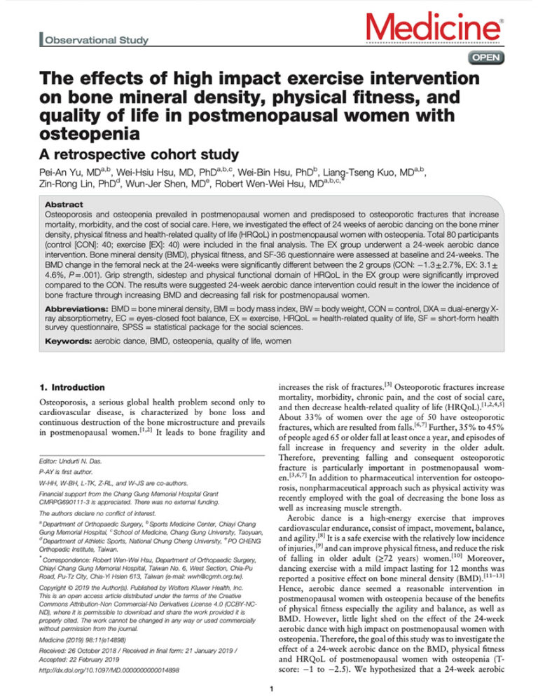 The Effects Of High Impact Exercise Intervention On Bone Mineral Density, Physical Fitness, And Quality Of Life In Postmenopausal Women With Osteopenia